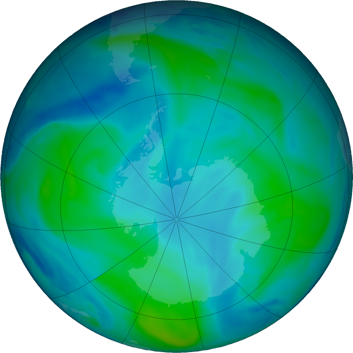 Antarctic ozone map for 11 February 2019