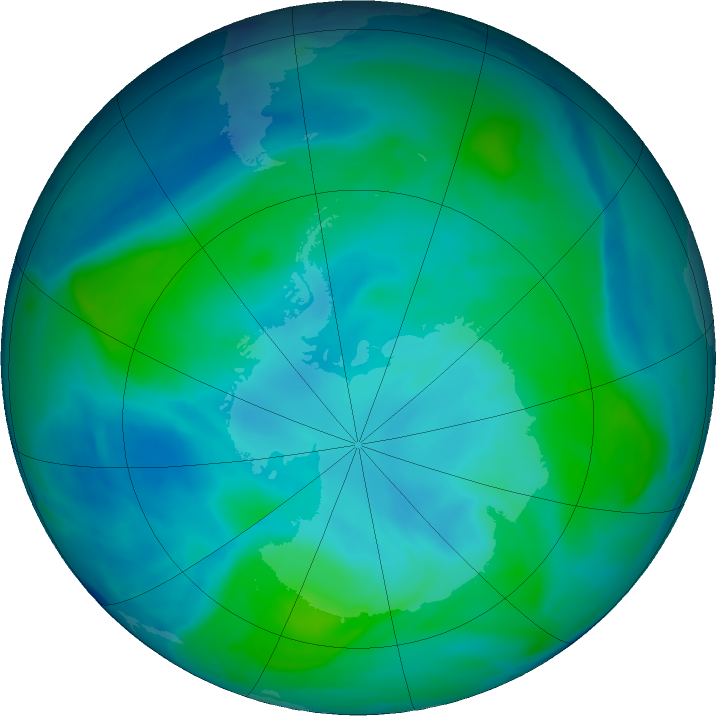 Antarctic ozone map for 14 February 2019