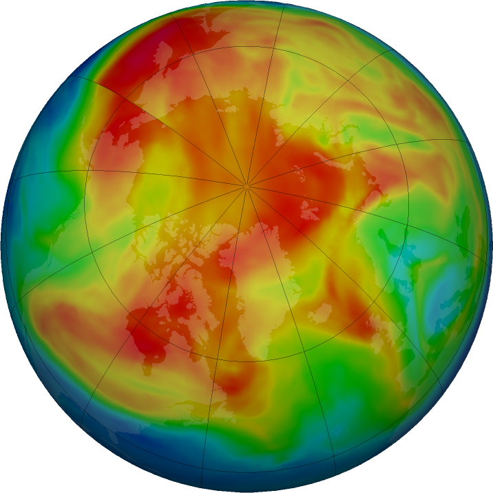 Arctic ozone map for 18 February 2019