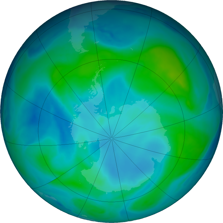 Antarctic ozone map for 18 February 2019