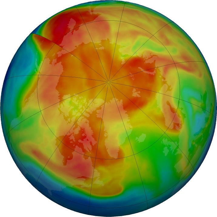Arctic ozone map for 19 February 2019