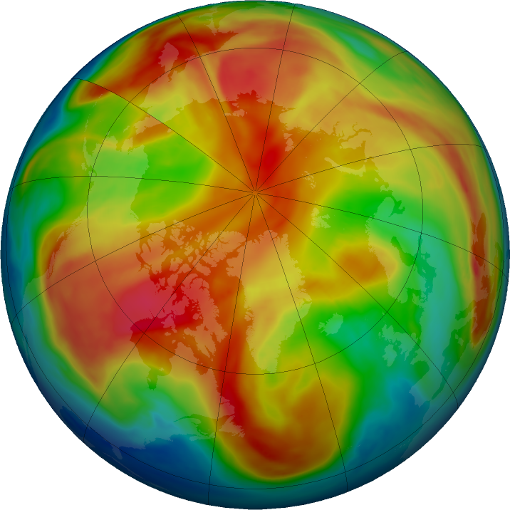 Arctic ozone map for 24 February 2019