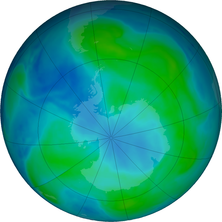 Antarctic ozone map for 24 February 2019