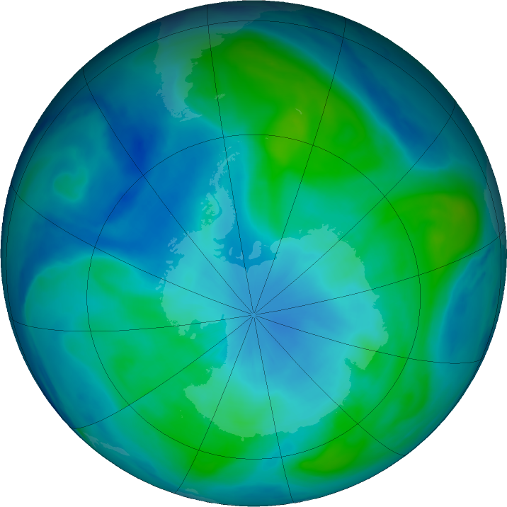 Antarctic ozone map for 26 February 2019