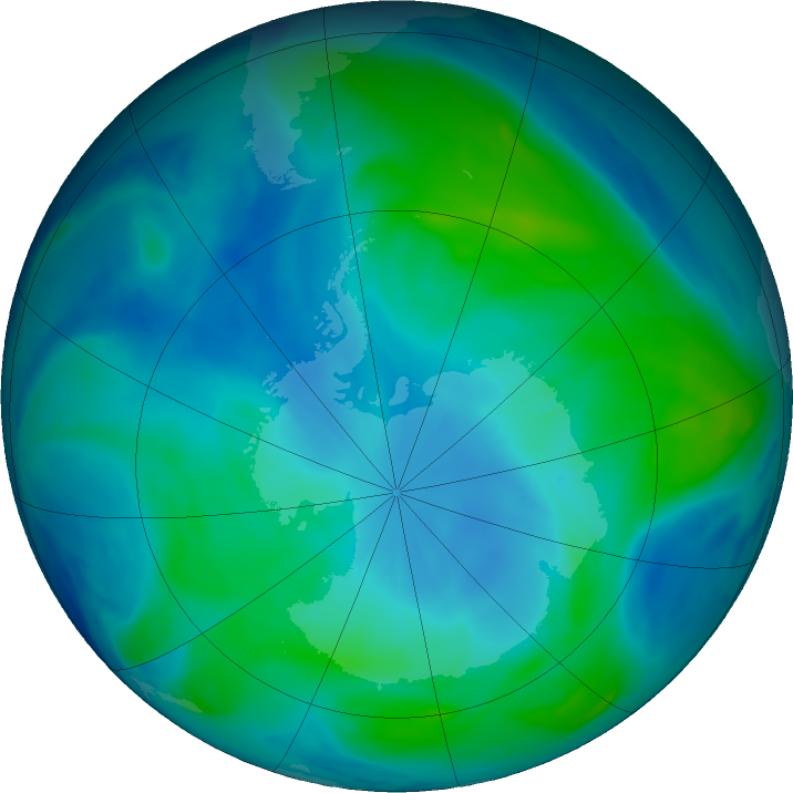 Antarctic ozone map for 27 February 2019