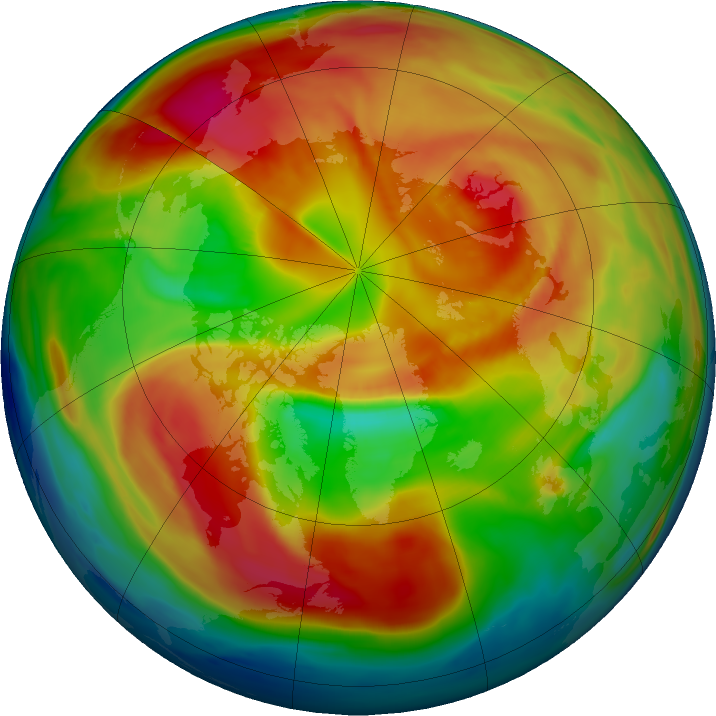 Arctic ozone map for 28 February 2019