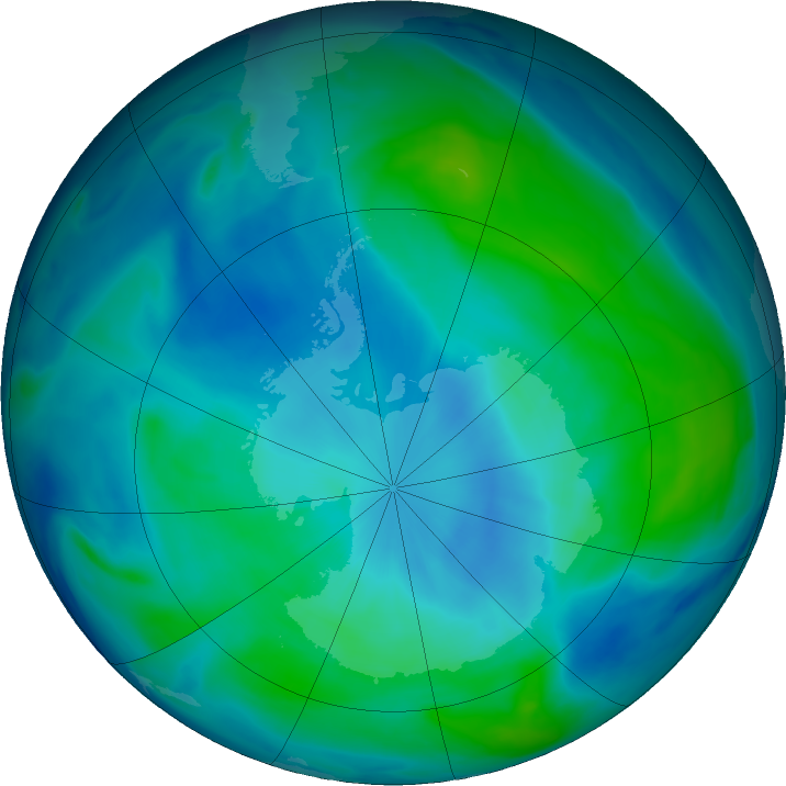 Antarctic ozone map for 28 February 2019