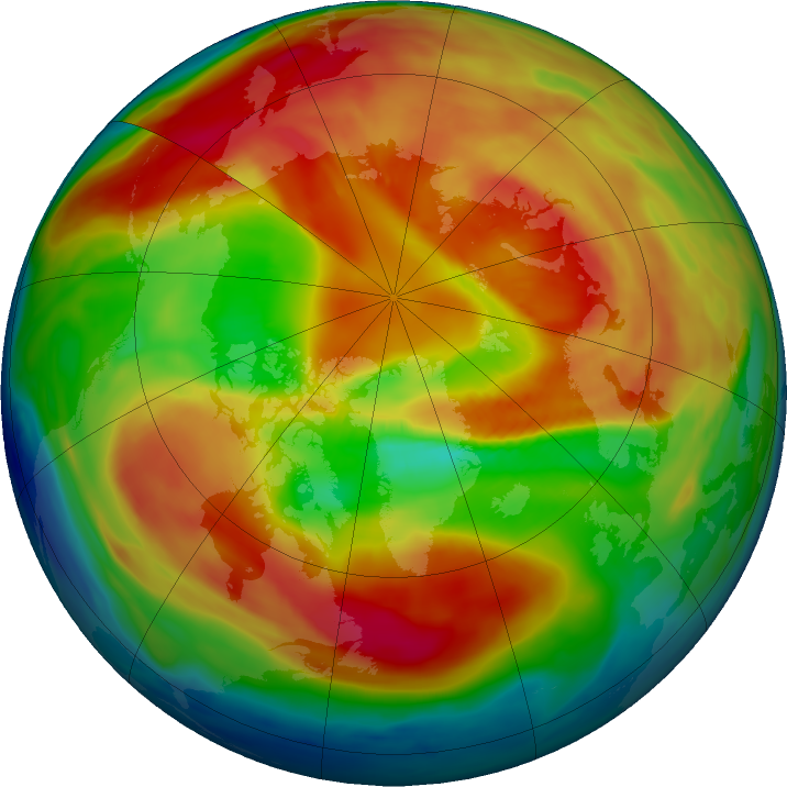 Arctic ozone map for 01 March 2019