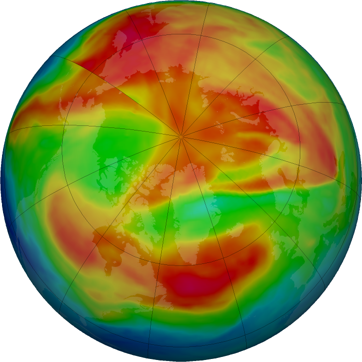 Arctic ozone map for 02 March 2019