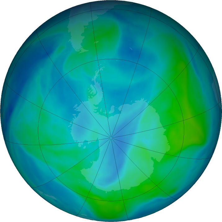 Antarctic ozone map for 05 March 2019