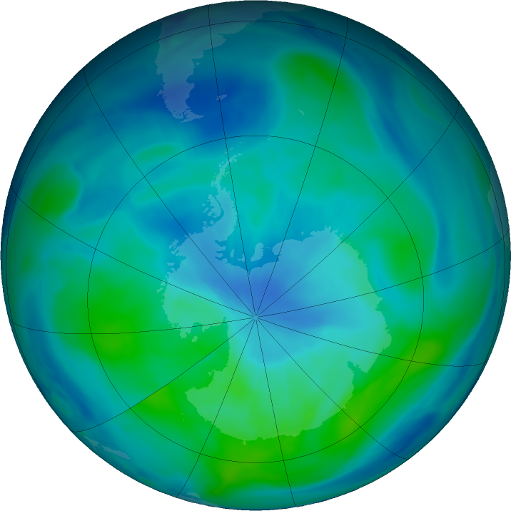 Antarctic ozone map for 10 March 2019