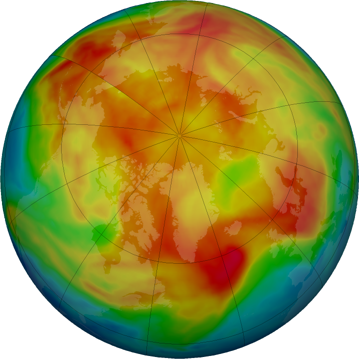 Arctic ozone map for 11 March 2019