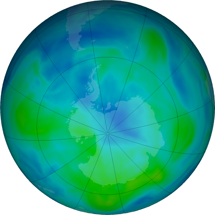 Antarctic ozone map for 11 March 2019