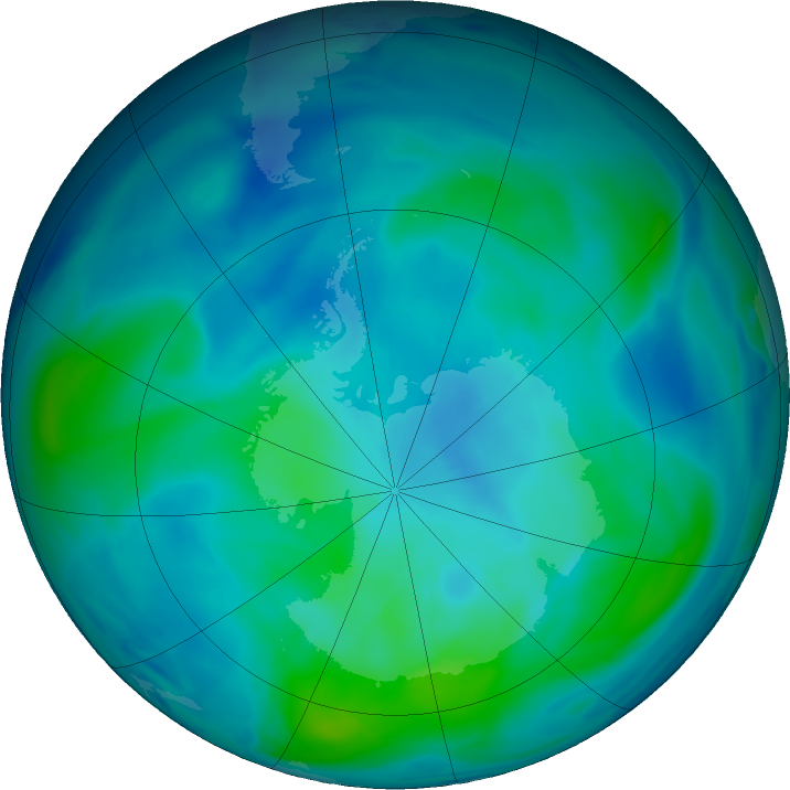 Antarctic ozone map for 12 March 2019