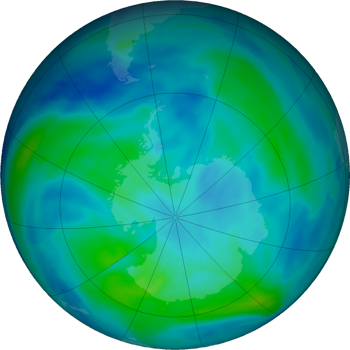 Antarctic ozone map for 14 March 2019