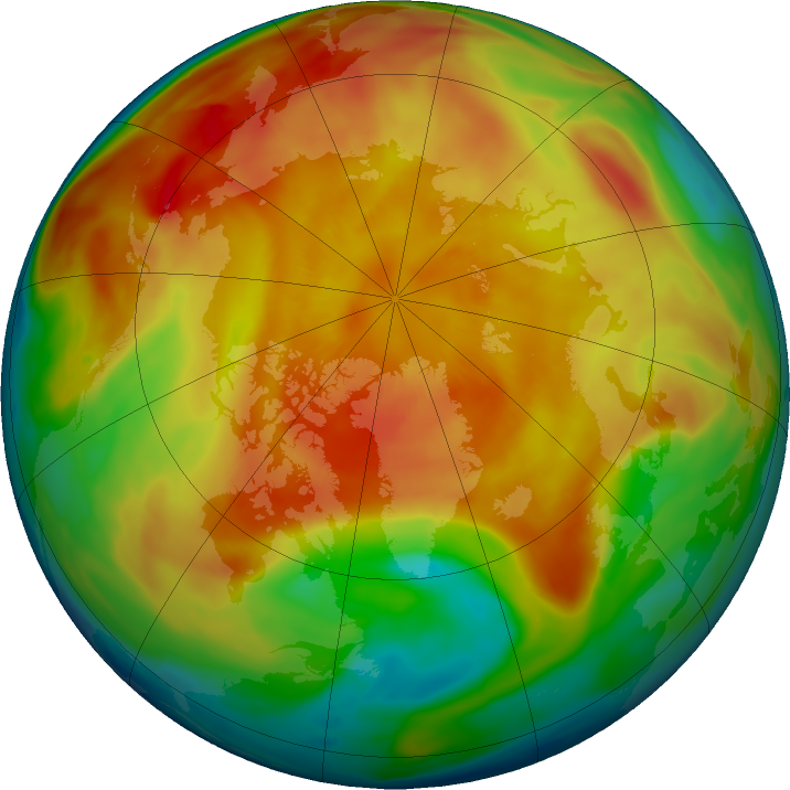 Arctic ozone map for 16 March 2019