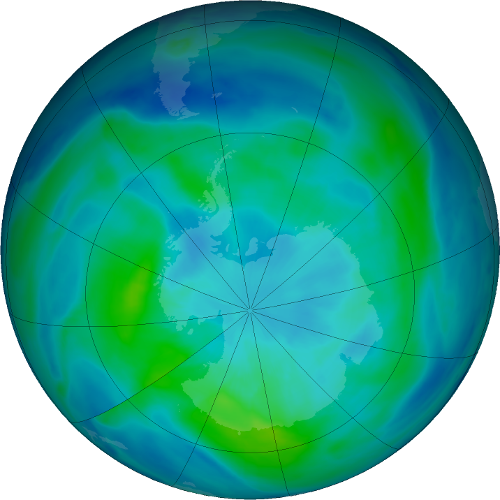 Antarctic ozone map for 16 March 2019