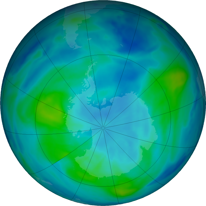 Antarctic ozone map for 19 March 2019