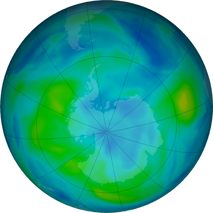 Antarctic ozone map for 20 March 2019