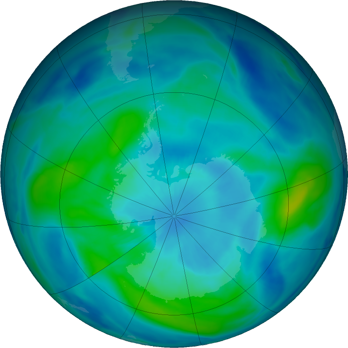 Antarctic ozone map for 21 March 2019