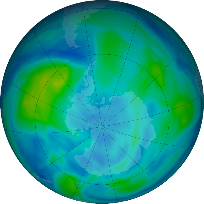 Antarctic ozone map for 26 March 2019