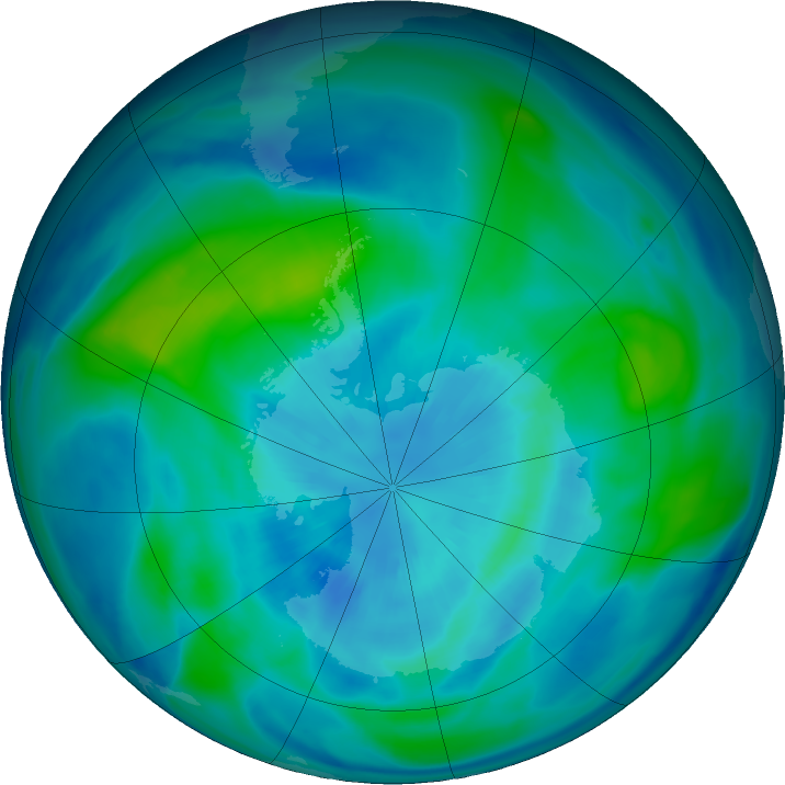 Antarctic ozone map for 27 March 2019