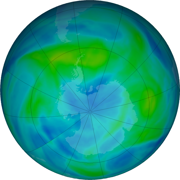 Antarctic ozone map for 28 March 2019
