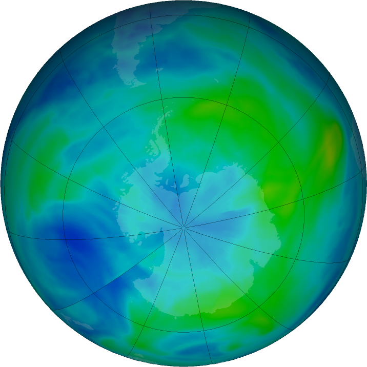 Antarctic ozone map for 31 March 2019