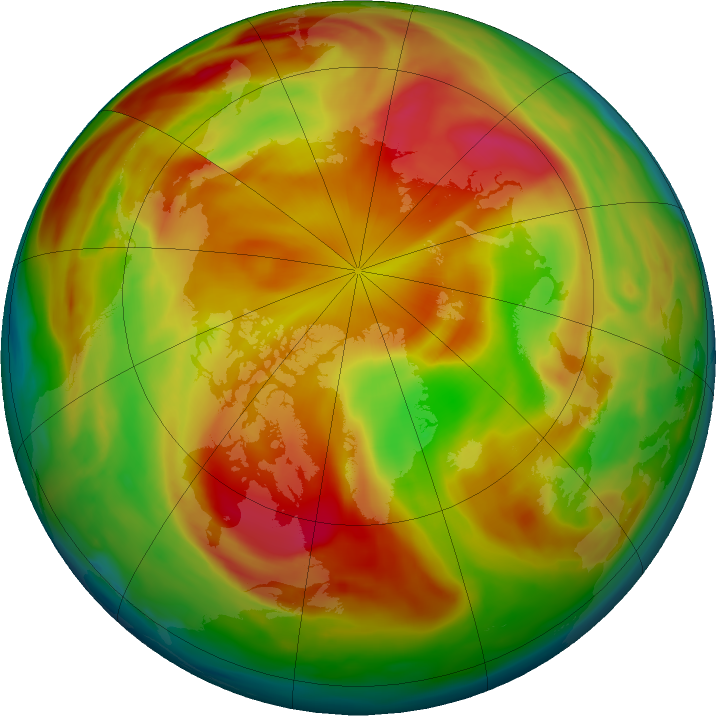 Arctic ozone map for 06 April 2019