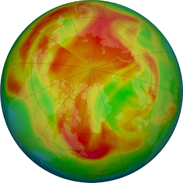 Arctic ozone map for 08 April 2019