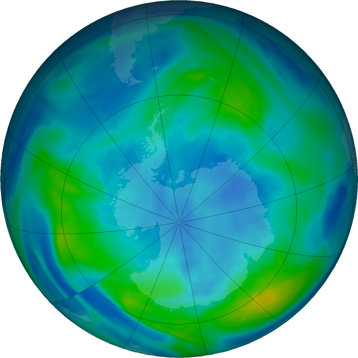 Antarctic ozone map for 20 April 2019