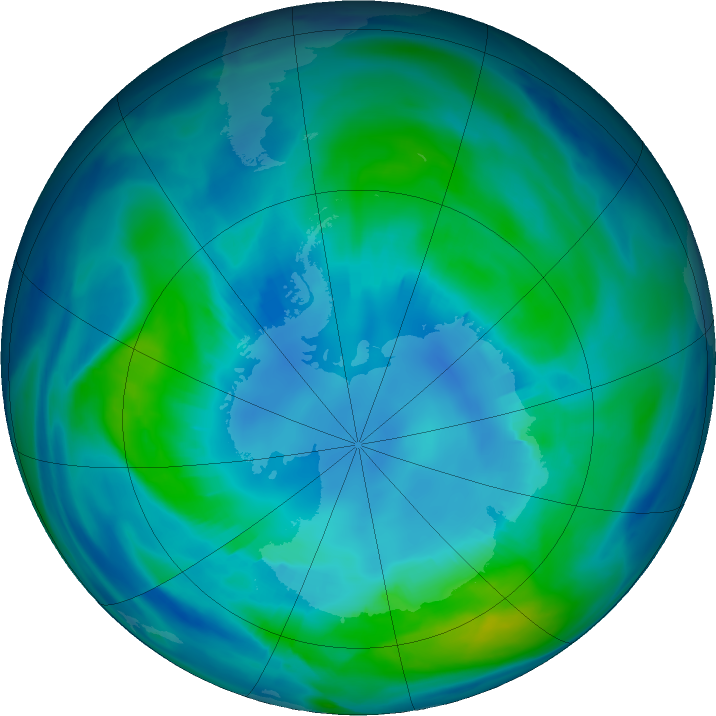 Antarctic ozone map for 21 April 2019