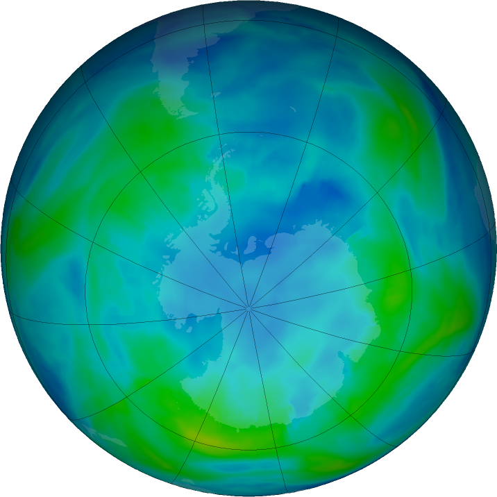 Antarctic ozone map for 28 April 2019
