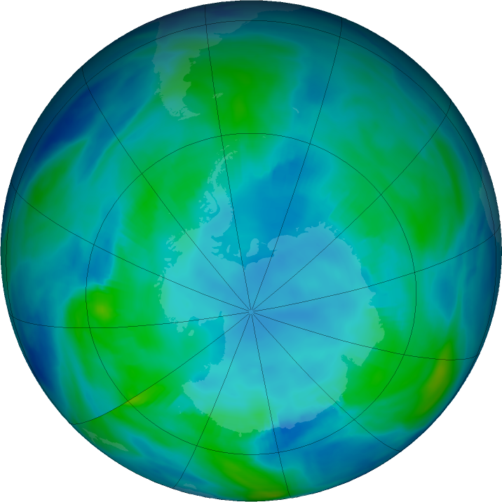 Antarctic ozone map for 30 April 2019