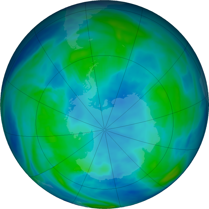 Antarctic ozone map for 01 May 2019