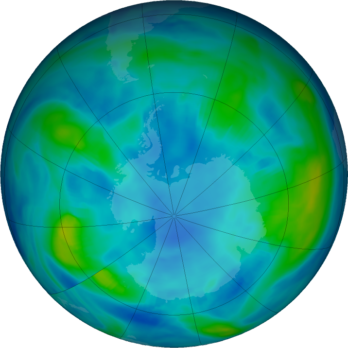 Antarctic ozone map for 05 May 2019