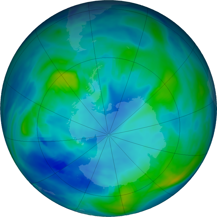 Antarctic ozone map for 08 May 2019