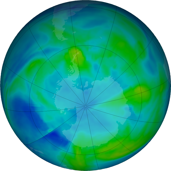 Antarctic ozone map for 09 May 2019