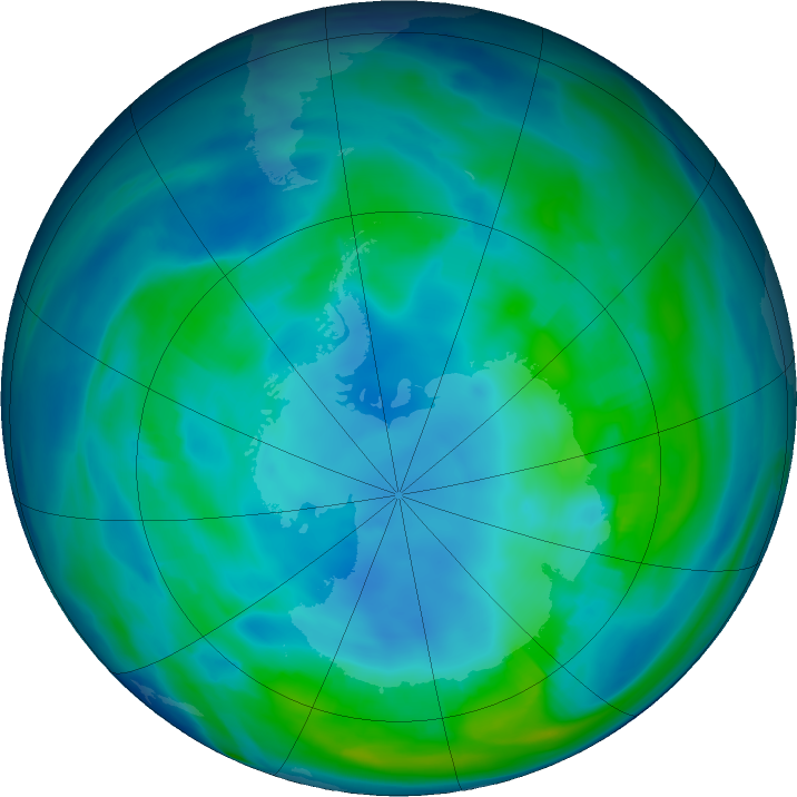 Antarctic ozone map for 11 May 2019