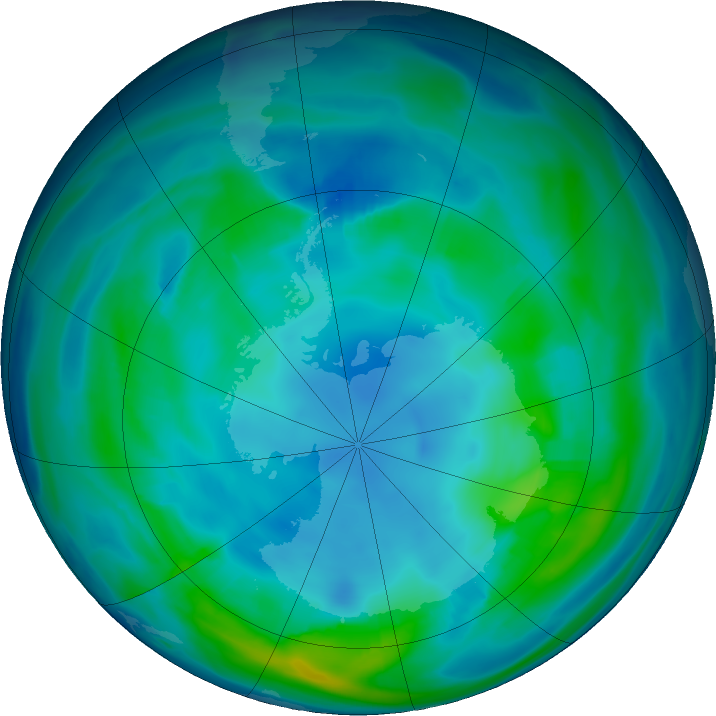 Antarctic ozone map for 12 May 2019