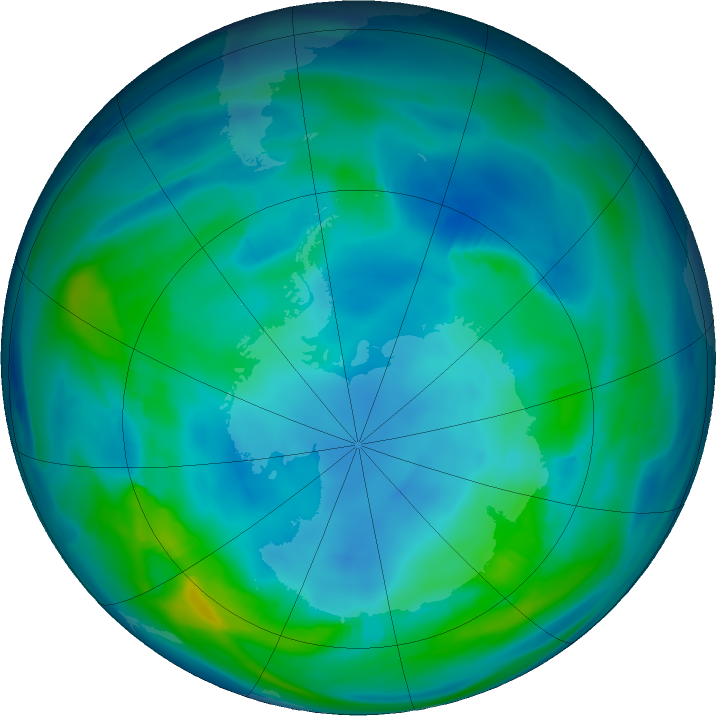 Antarctic ozone map for 13 May 2019