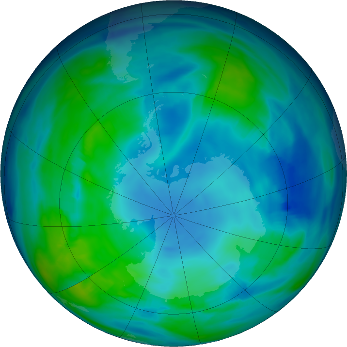 Antarctic ozone map for 16 May 2019