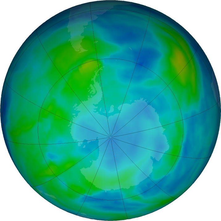 Antarctic ozone map for 18 May 2019