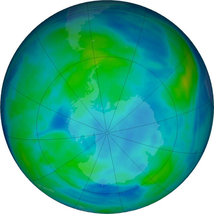 Antarctic ozone map for 19 May 2019