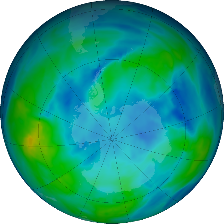 Antarctic ozone map for 25 May 2019