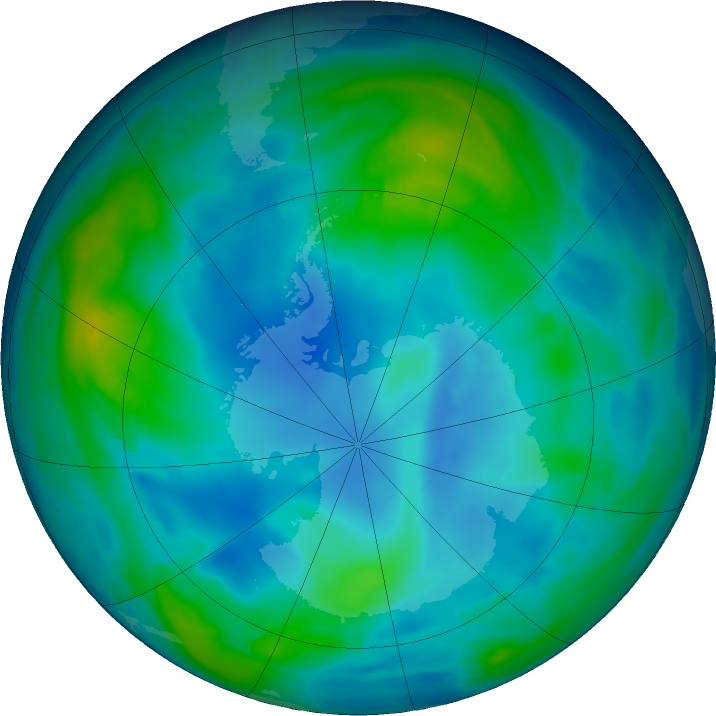 Antarctic ozone map for 30 May 2019