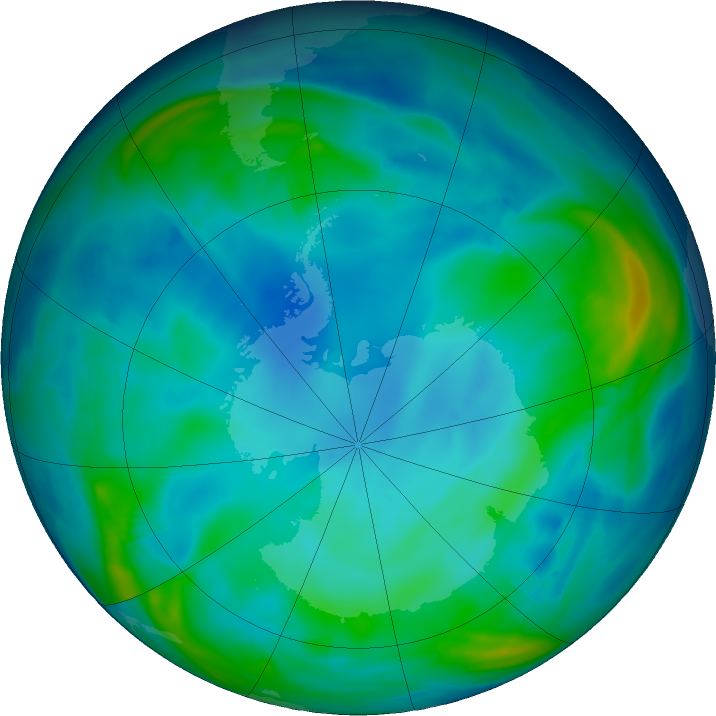 Antarctic ozone map for 05 June 2019