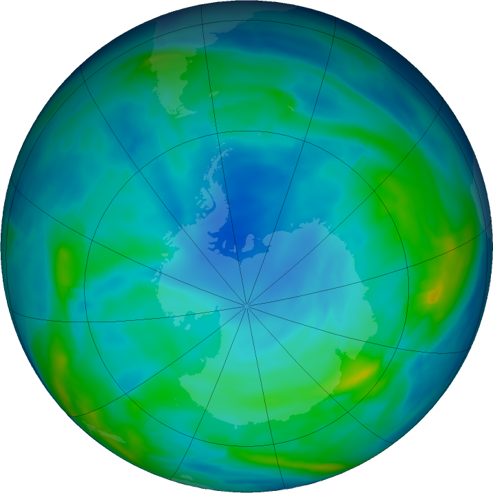 Antarctic ozone map for 06 June 2019