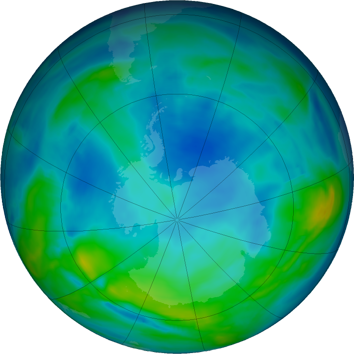 Antarctic ozone map for 08 June 2019