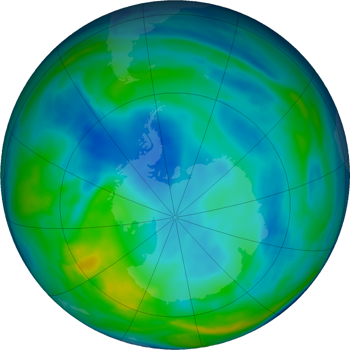 Antarctic ozone map for 11 June 2019